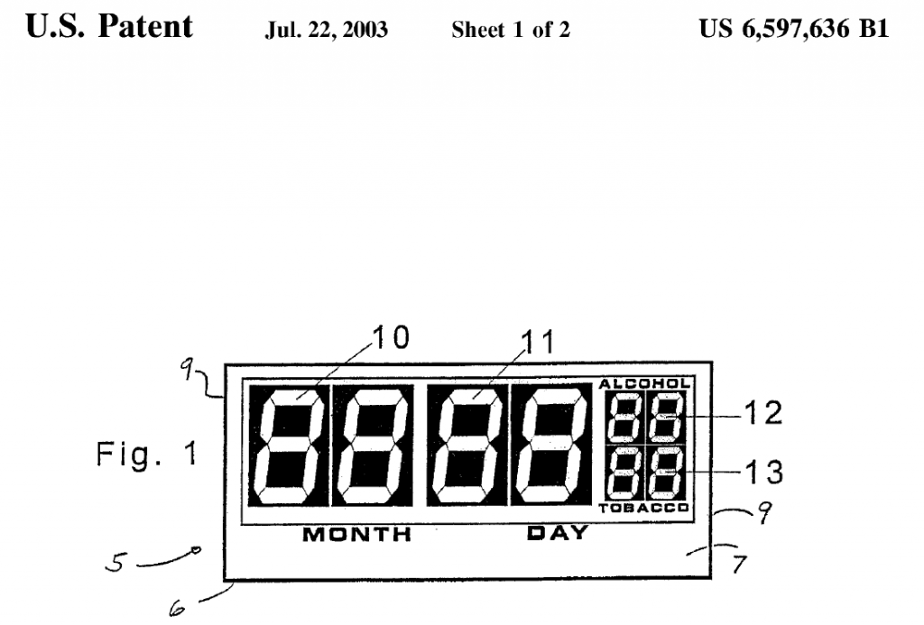 The illustrated device is useful for store clerks: it displays the minimum birth date for an individual who is entitled to purchase alcohol or tobacco. I suggest a variant for patent office clerks displaying the maximum date of lapse of a patent for a patentee who is entitled to restoration of right.