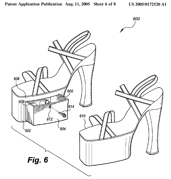 "Another form of platform: a platform shoe with a storage compartment. The application suggests to use this compartment for ""keys, driver's license, money, and other small but necessary articles""."